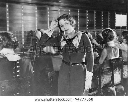 Weary telephone operator