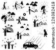 Weather Climate Atmosphere Environment Meteorology Season People Man Stick Figure Pictogram Icon - stock photo