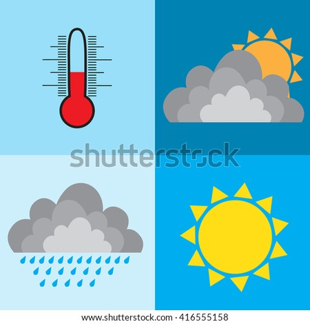 weather design sun rain cloud thermometer raster illustration - stock photo