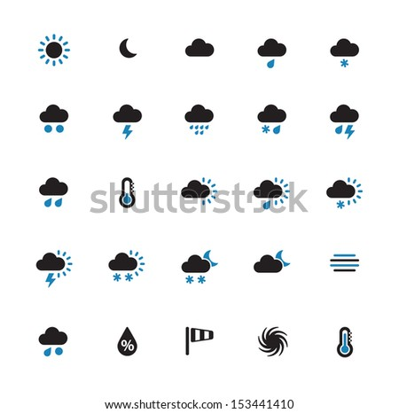 Weather duotone icons on white background. See also vector version.