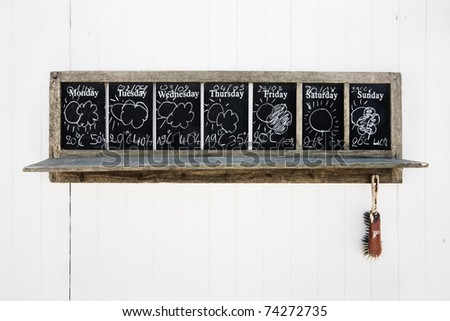 weather forecast at a beach shed (Europe, Belgian coast) - stock photo