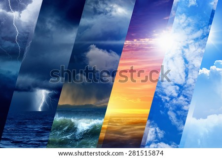 Weather forecast background - variety weather conditions, bright sun and blue sky; dark stormy sky with lightnings - stock photo