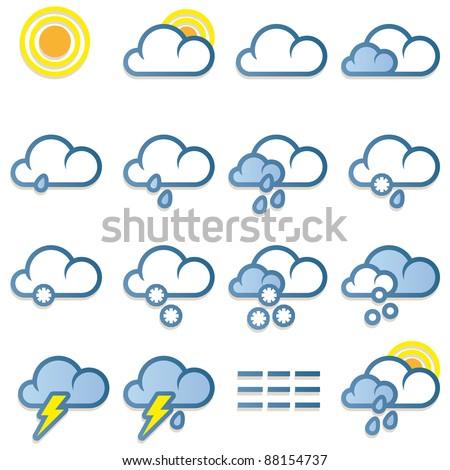 Weather forecast icons set on white background - stock photo