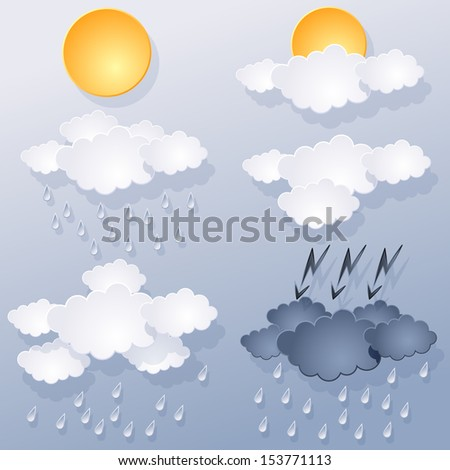 weather forecast, of clouds and sun on blue background. Raster version of vector illustration