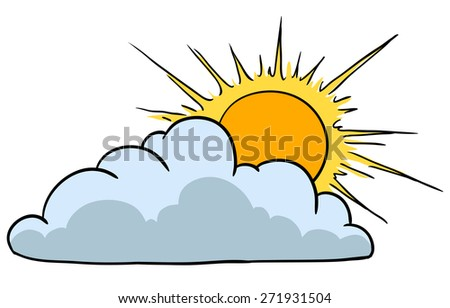 Weather Icon Representing Sunny Weather With Clouds - stock photo