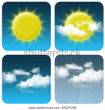 Weather icon: sun, cloudy small, cloudy big and rain - stock photo