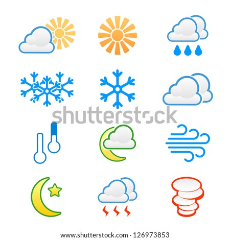 Weather icons: cloudy rain sunny clear windy