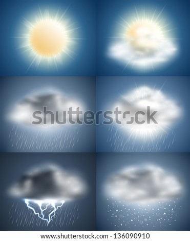 Weather icons collection (day) - raster version - stock photo