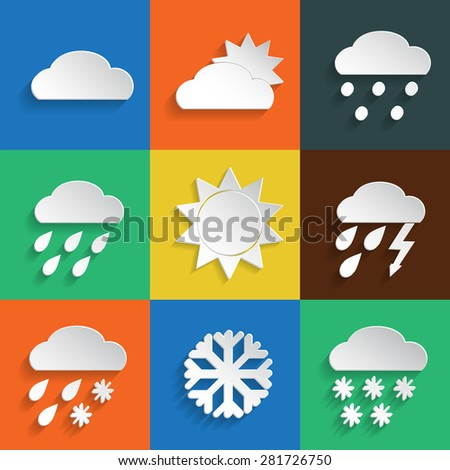 Weather icons in paper style on colored backgrounds