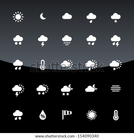 Weather icons on black background. See also vector version.