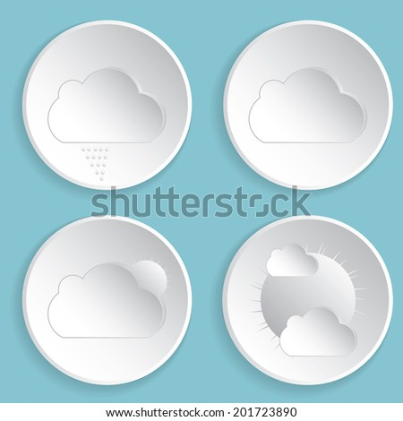Weather icons on blue background. - stock photo
