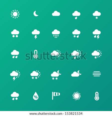 Weather icons on green background. See also vector version.