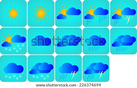 weather icons on secluded white background - stock photo