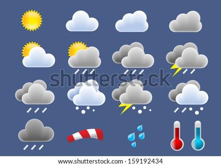 weather icons set - stock photo