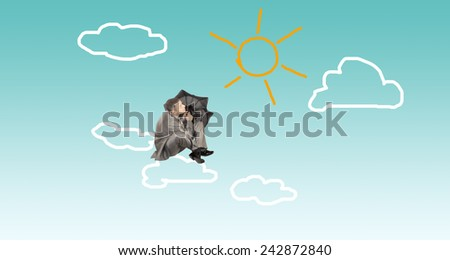 Weather in financial business.Businessman with umbrella - stock photo