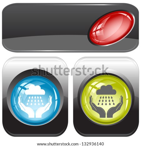 weather in hands. Internet buttons. Raster illustration. Vector version is in my portfolio. - stock photo