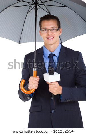 weather news reporter with umbrella isolate on white background - stock photo