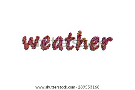 weather text flower with white background concept of typography - stock photo