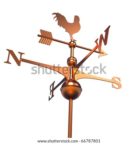 Weather Vane isolated over white - 3d render - stock photo