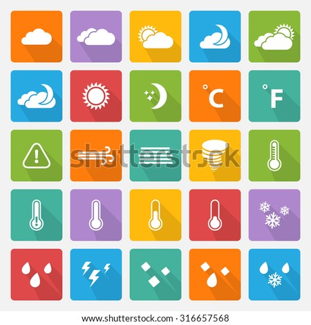 Weather white icons,sign,symbol,pictogram set with flat shadow on a color square - stock photo
