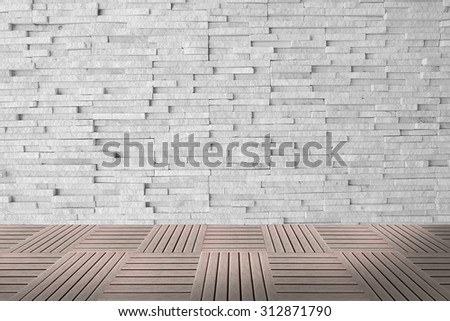 Weather worn brick wall interior pattern decoration vintage style with puzzle wood pave - stock photo