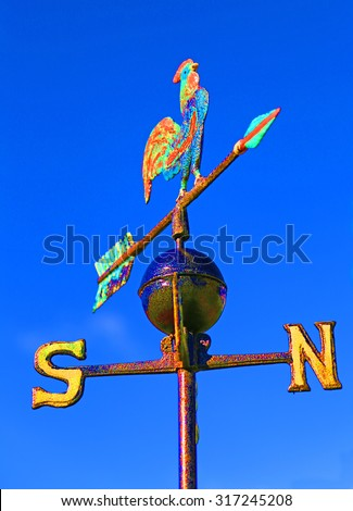 weathercock for measuring wind direction - stock photo