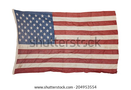 Weathered american flag isolated on white background - stock photo
