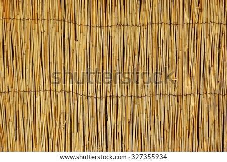 Weathered Bamboo Mat Horizontal Background Texture - stock photo