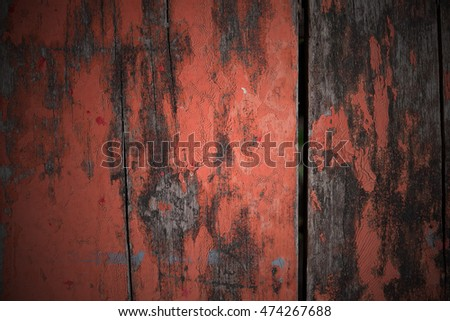 weathered barn wood background with knots. orange old wood