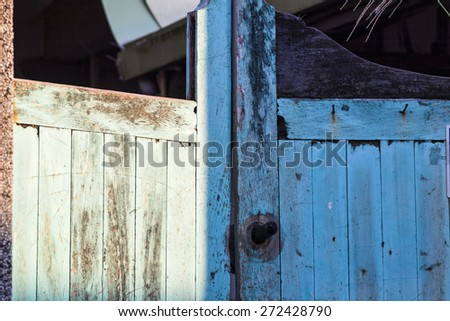 weathered blue door for adv or others purpose use - stock photo