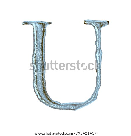 Weathered blue stone style uppercase or capital letter U in a 3D illustration with a rough rock surface texture and jagged edge font isolated on a white background with clipping path.