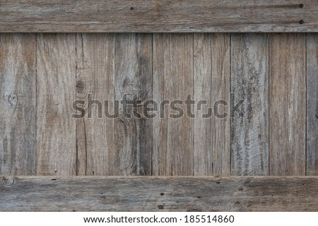 Weathered boards on the side of an old wooden crate or box with border trim on the top and bottom held on by rusty old screws. Perfect for a sign or background. - stock photo