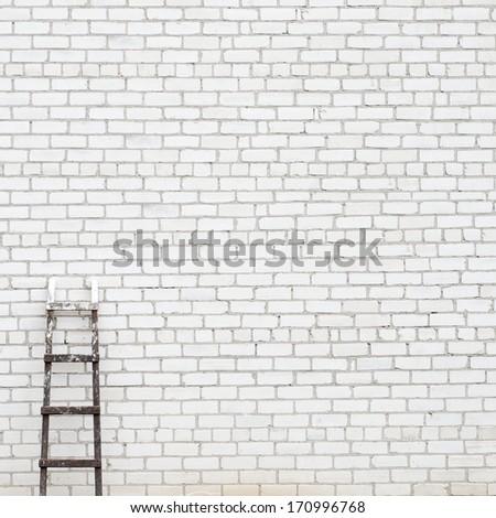 weathered brick wall background - stock photo
