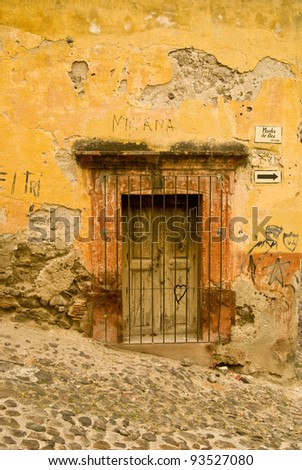 Weathered building in San Miguel de Allende, Mexico - stock photo
