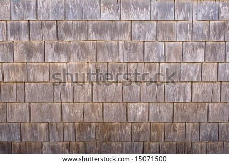 Weathered cedar wood siding shingles, texture, background - stock photo