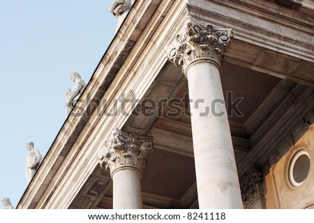 Weathered columns of an old historic building