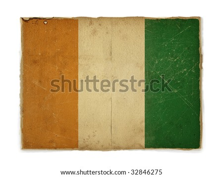weathered flag of Cote divoire, paper textured