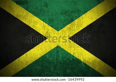 Weathered Flag Of Jamaica, fabric textured - stock photo