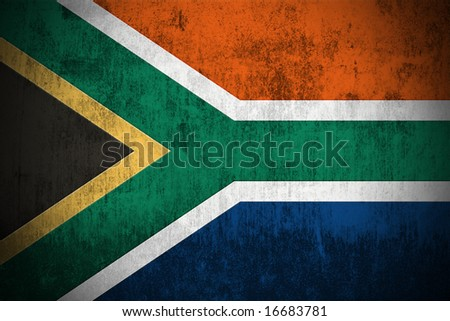 Weathered Flag Of South Africa, fabric textured - stock photo