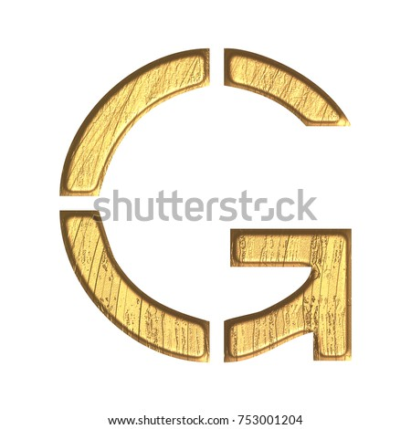 Weathered golden uppercase or capital letter G in a 3D illustration with a rough aged gold color tarnished metal surface in a stencil style font isolated on a white background with clipping path.