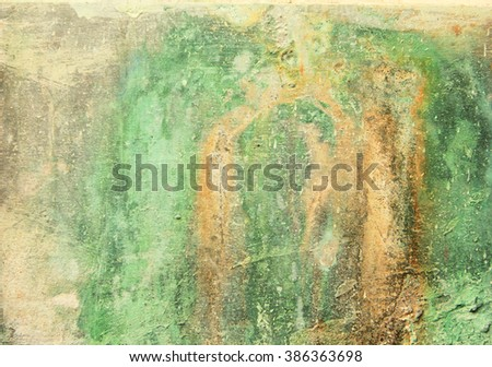 Weathered green painted wall with paint chip crack - stock photo