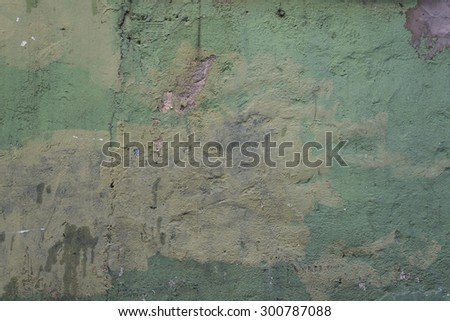 Weathered green wall background. - stock photo
