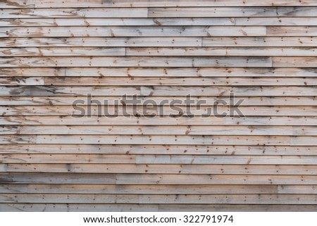 Weathered, natural softwood wall texture, especially suited as a background. - stock photo