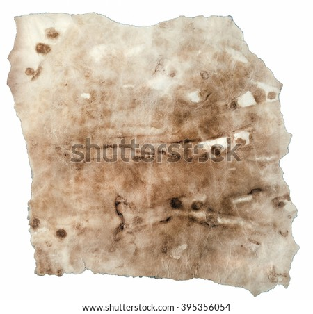Weathered Piece of Antique Vellum Isolated on White Background