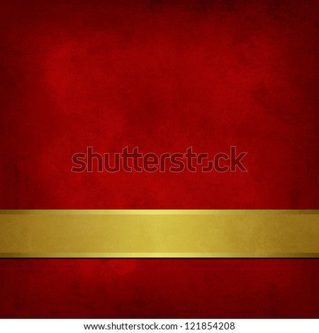Weathered Red background with gold ribbon - stock photo