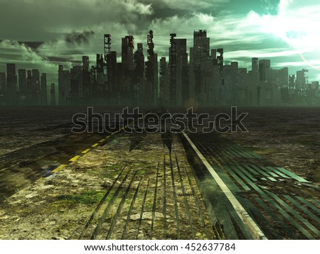 Weathered road leads into abandoned city 3D Render - stock photo
