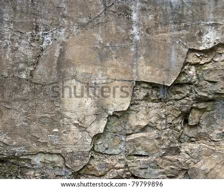 weathered stone and concrete wall background - stock photo