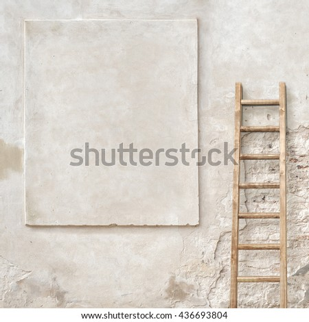 weathered stucco wall with wooden ladder background