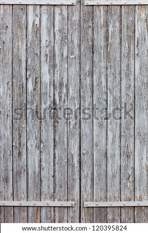 Weathered window, closed, grey color is peeling. Close-up - stock photo