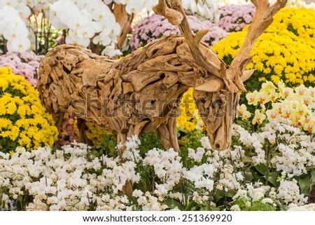 weave deer handmade and flower - stock photo